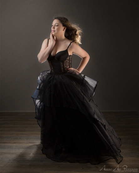 black dress made from corset and skirt