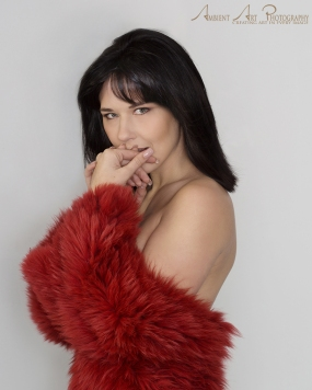 Yves salomon red fur coat for boudoir photo set