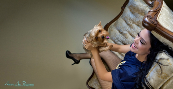 fishnets and jersy with pet puppy, cute boudoir set