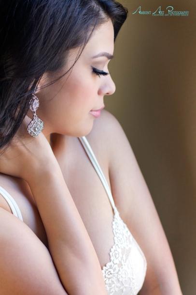 diamond earrings, faux lashes, sweet boudoir portrait