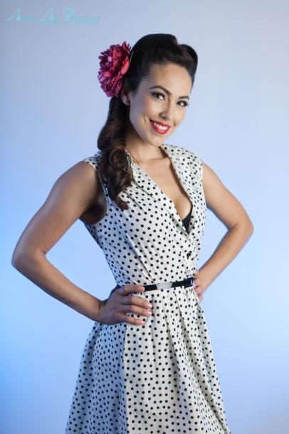 Black and white polka dot dress. Fresno pinup style