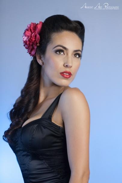 Black dress, red flower red lipstick victory rolls